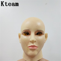 2018 Top quality full head real face mask cosplay female realistic silicone mask crossdresser party mask masquerade Cosplay