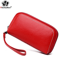 Fashion Female Genuine Leather Wallet Famous Brand COW Clutch Bag Luxury Long Business Card Holder Purses