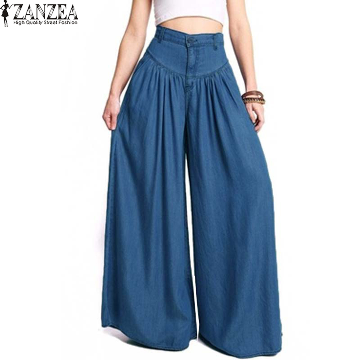 New ZANZEA Women High Waist Denim Blue   Wide     Leg     Pants   Loose Pleated Solid Streetwear Long Harem Trousers Party Palazzo Plus Size