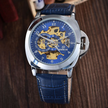 цена на Blue Mechanical Skeleton Watch Leather Strap Automatic Self-wind Wrist Watches Men Wristwatch Relogio Masculino GOER
