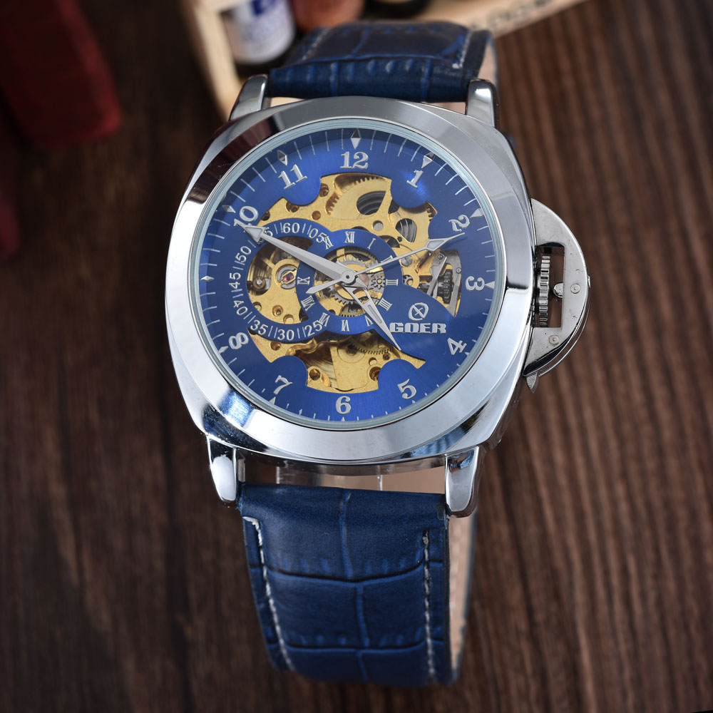19bde3e4bf7 Detail Feedback Questions about Blue Mechanical Skeleton Watch Leather  Strap Automatic Self wind Wrist Watches Men Wristwatch Relogio Masculino  GOER on ...