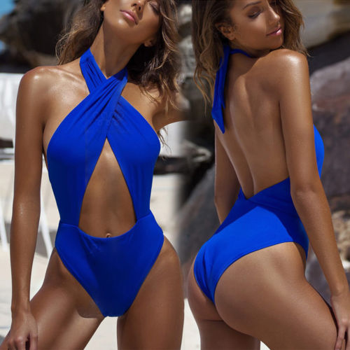 2018 Summer Women One Piece Swimsuit Intersecting Bandage Halter Swimwear Monokini Bathing Suit Push Up Unpadded Beachwear