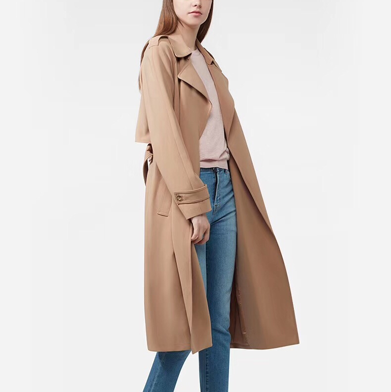 2019 fall and winter long sleeve office lady simple and classic pure color long   trench   coat with belt