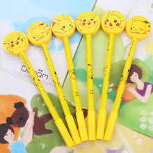 48pcs/pack 0.5mm Black Ink Cartoon Pikachu Creative Gel Pen Unisex Rollerball Sign Office School Stationery