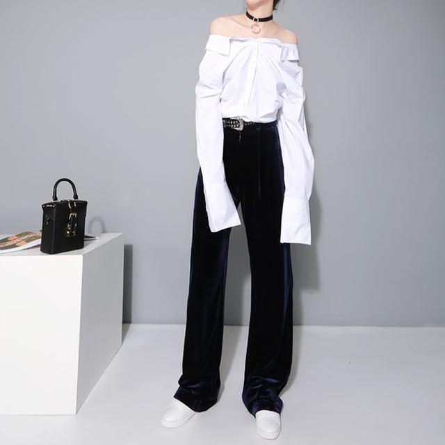 [CHICEVER] 2116 Autumn Homemade Hot Velvet High Waist Casual Wide Leg Long Pants Women Winter New Fashion Trousers