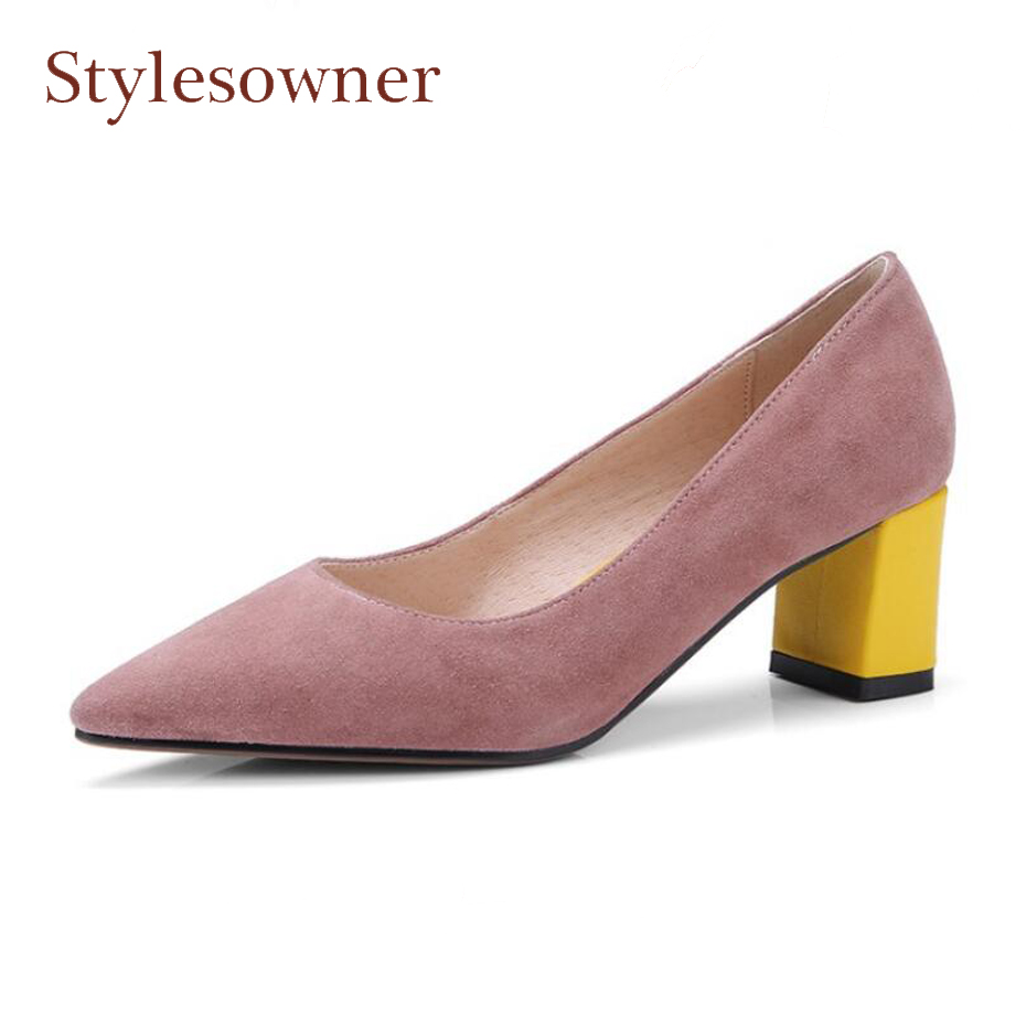 Stylesowner pink suede leather pumps women pointed toe mixed color high heel shoes fashion concise style ladies dress party shoe