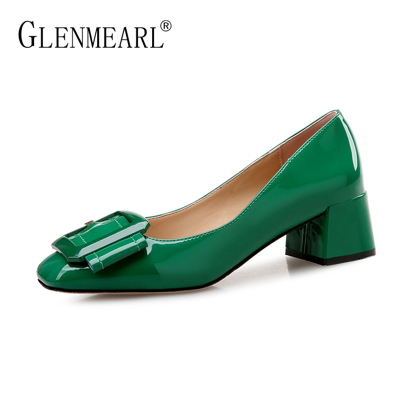Brand Med Heels Shoes Women Pumps Elegant Patent Leather Thick Heel Office Ladies Work Shoes Buckle Round Toe Spring Pumps 45