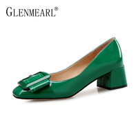 Brand Med Heels Shoes Women Pumps Elegant Patent Leather Thick Heel Office Ladies Work Shoes Buckle