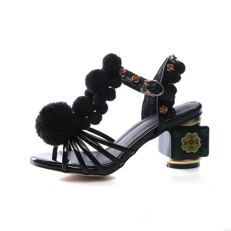 Tacones Cuero Señoras 34 T 43 rojo Negro Mujer De Zapatos Rojo Genuino Mujeres Boda Negro 5 Strang Cm Las correa Tamaño Sandalias wan8FqA