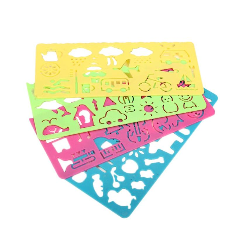 4 Pcs Cartoon Stationery Painting Ruler Candy Color School Painting Supplies Drafting Tool Art Drawing Template For Child Gift