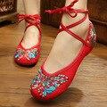 Nova Chegada 2017 Sapatos Velhos Pequim Mary Jane das Mulheres Calcanhar Plana Apartamentos de Lona com Borboleta Sapatos Casuais Plus Size 41