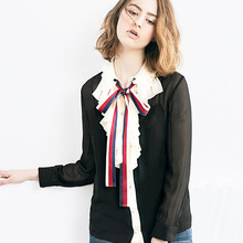 2017 new Summer Fashion Runway Top Shirts Women's Long Sleeve Bow Ruffles Turn-down Collar Chiffon Blouses blusa Top quality