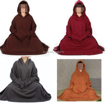 6color winter&autumn unisex meditation cloak Buddhist Monks suits robe zen lay warm clothing mantle cape red/brown/gray(China)