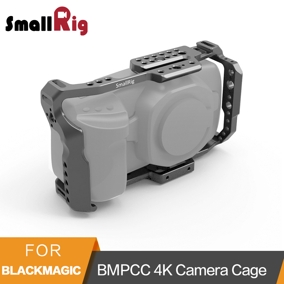 SmallRig BMPCC 4K Camera Cage for Blackmagic Design Pocket Cinema Camera Form Fitting Cage With Nato Rail Could Shoe Mount- 2203 smallrig mount for samsung t5 ssd card holder mount compatible with smallrig cage for bmpcc 4k 2203 2245