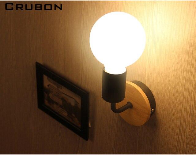 Crubon modern lighting wooden wall lamp bedroom kitchen mirror light