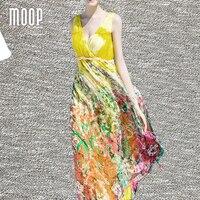 Women Summer Bohemian Pink Yellow Floral Silk Dresses Long Beach Dress Frill Waist Sleeveless Draped Sundress
