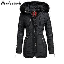 Modecrush Long Sleeve Hooded Mid-Length Women's Jacket 2019 Winter Long Female Warm Thicken Hooded Faux Fur Parka Outwear Coat недорого