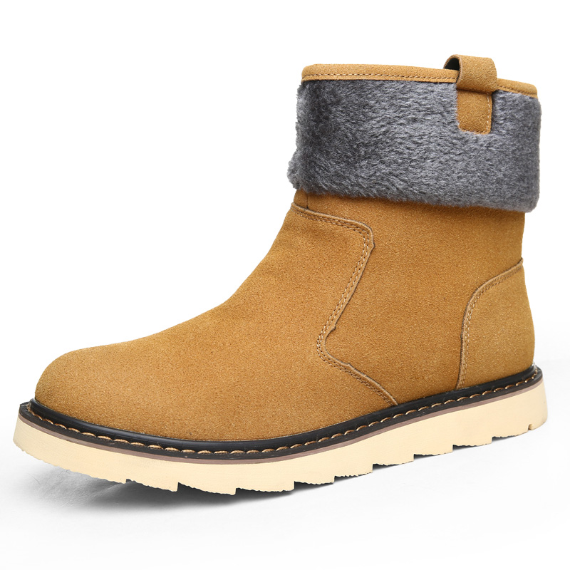 leather quality classic man snow high top shoes plush inner brand model mens winter winter boots