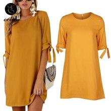 Горчично желтое женское платье с завязками на манжетах офисная