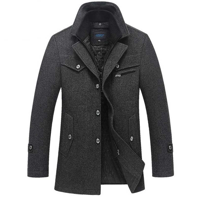 Winter Coat Men Long Wool Thick Windbreaker Woolen Overcoat Casaco Masculino Palto Jaket Men's Casual Trench Peacoat 5XL Jackets