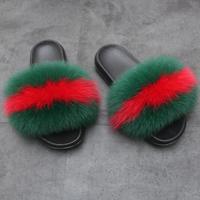 Real Fur Slippers Slides Mink Fur Plush Furry Fluffy Slippers Women Fox Fur Slides Sandals Slippers