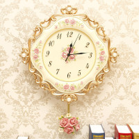 European Retro Resin Pastoral Quartz Clock Mute Style Wall Clock Muted Fashion Rose Flower Round Wall