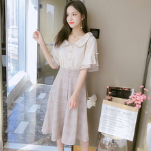 Summer Vintage Korean Plaid Top and Skirt Midi Beach Sundress 2019 Plus Size Two-piece Suit Elegant Women Party Bodycon Vestidos(China)