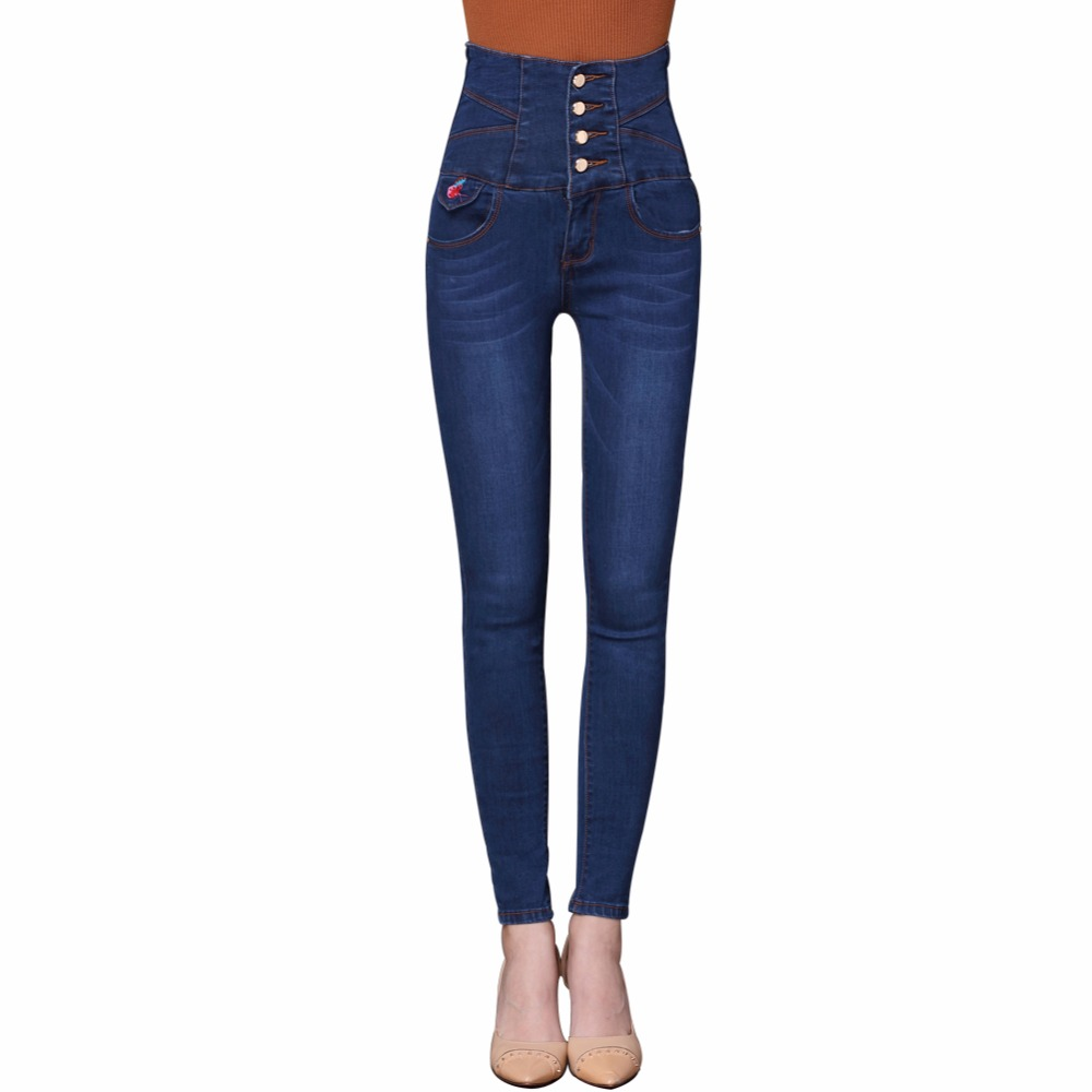 Women Jeans Large Size High Waist Autumn 2017 Blue Elastic Long Skinny Slim Jeans Embroidery Trousers For Women S-6XL Size women jeans large size high waist autumn 2017 blue elastic long skinny slim jeans trousers large size denim pants stretch female