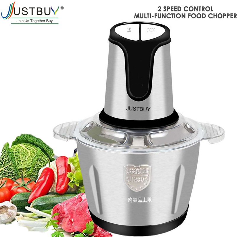 2L Electric Kitchen Meat Grinder Chopper  Shredder Food Chopper Stainless Steel Electric Household Processor Kitchen Tools
