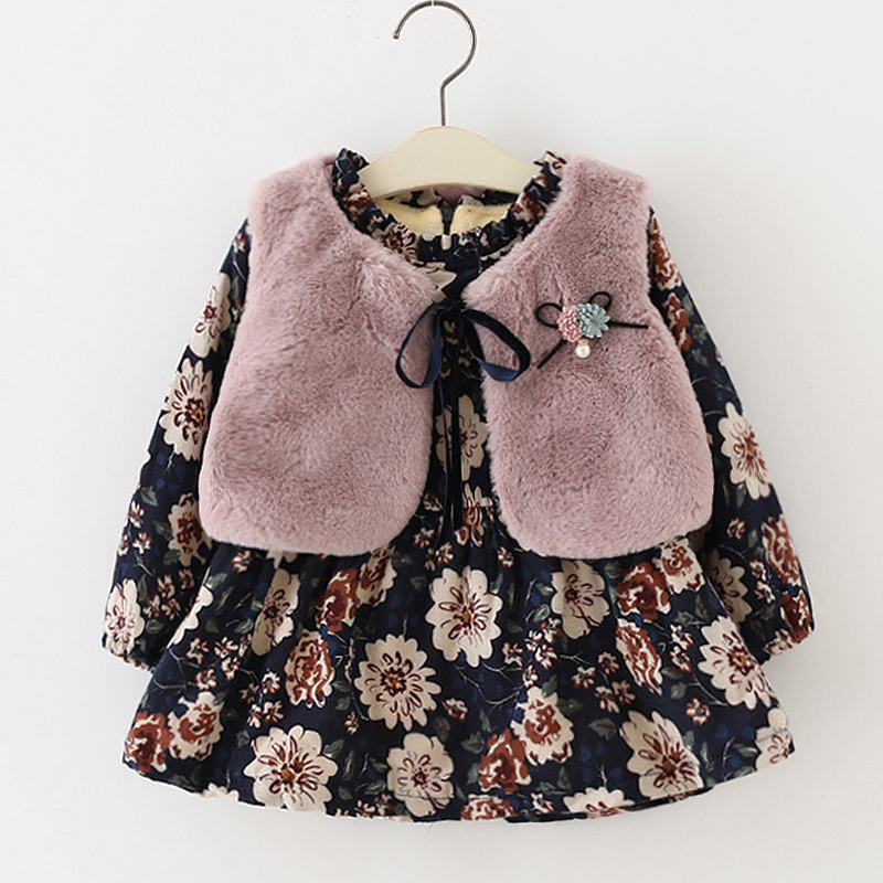 Fall Winter Wear Brand 2018 New Baby Girls Clothes Long sleeved Floral Plus Velvet Dress Fur