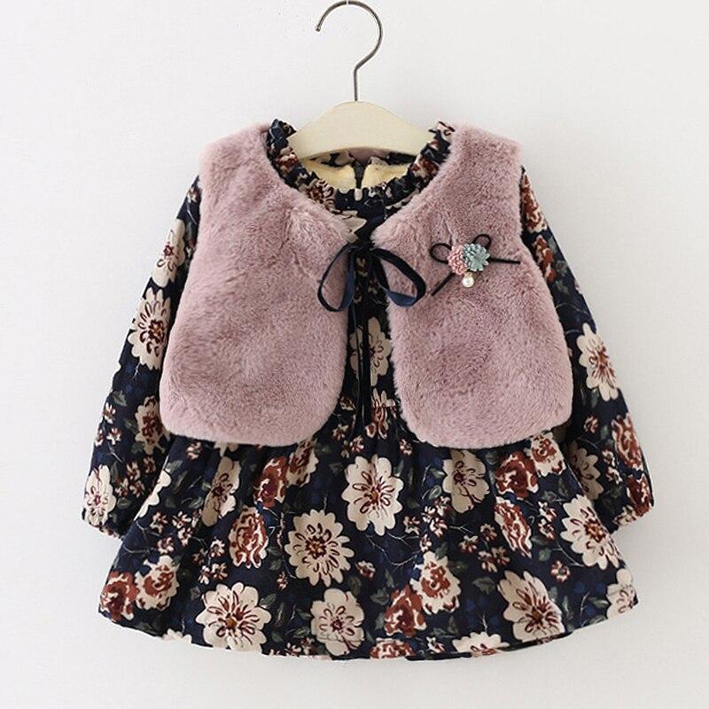 Los niños vestidos de niñas 2019 invierno Bebé Niñas Ropa de manga larga vestido de terciopelo + Chaleco de piel 2 P Niñas Ropa conjuntos