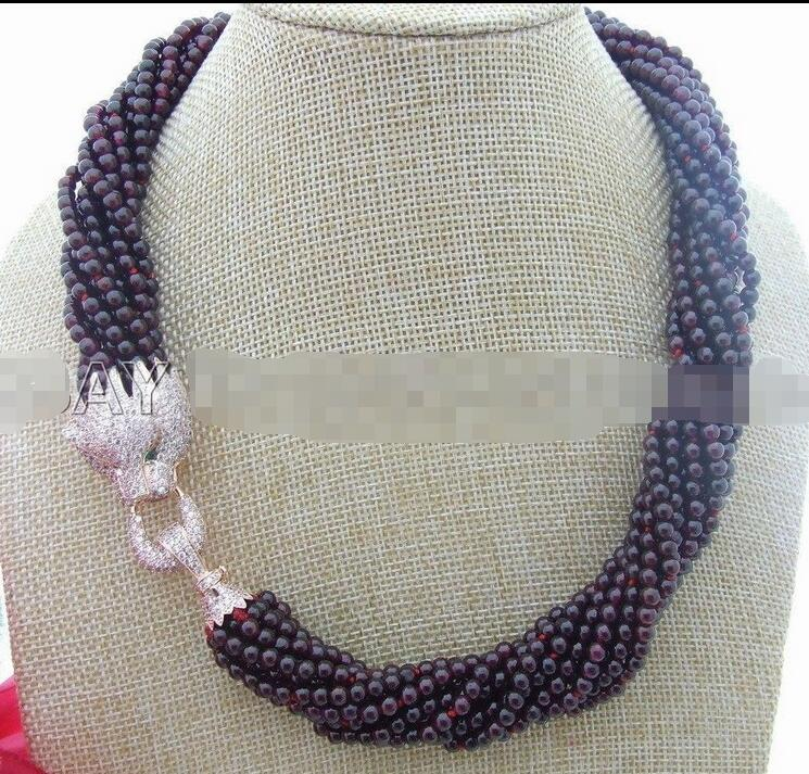 10Row 4 MM Round Garnet&Rhinestone Clasp Necklace