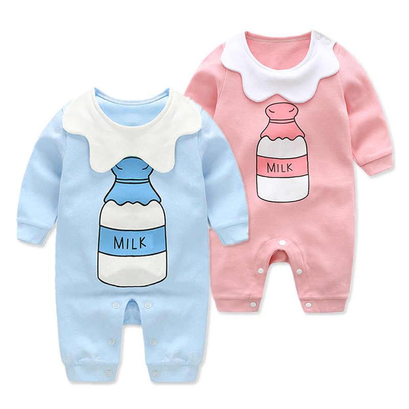 Детские комбинезоны для девочек; хлопковые комбинезоны с длинными рукавами и рисунком бутылки; коллекция 2019 года; Весенний комбинезон для малышей; Одежда для новорожденных мальчиков