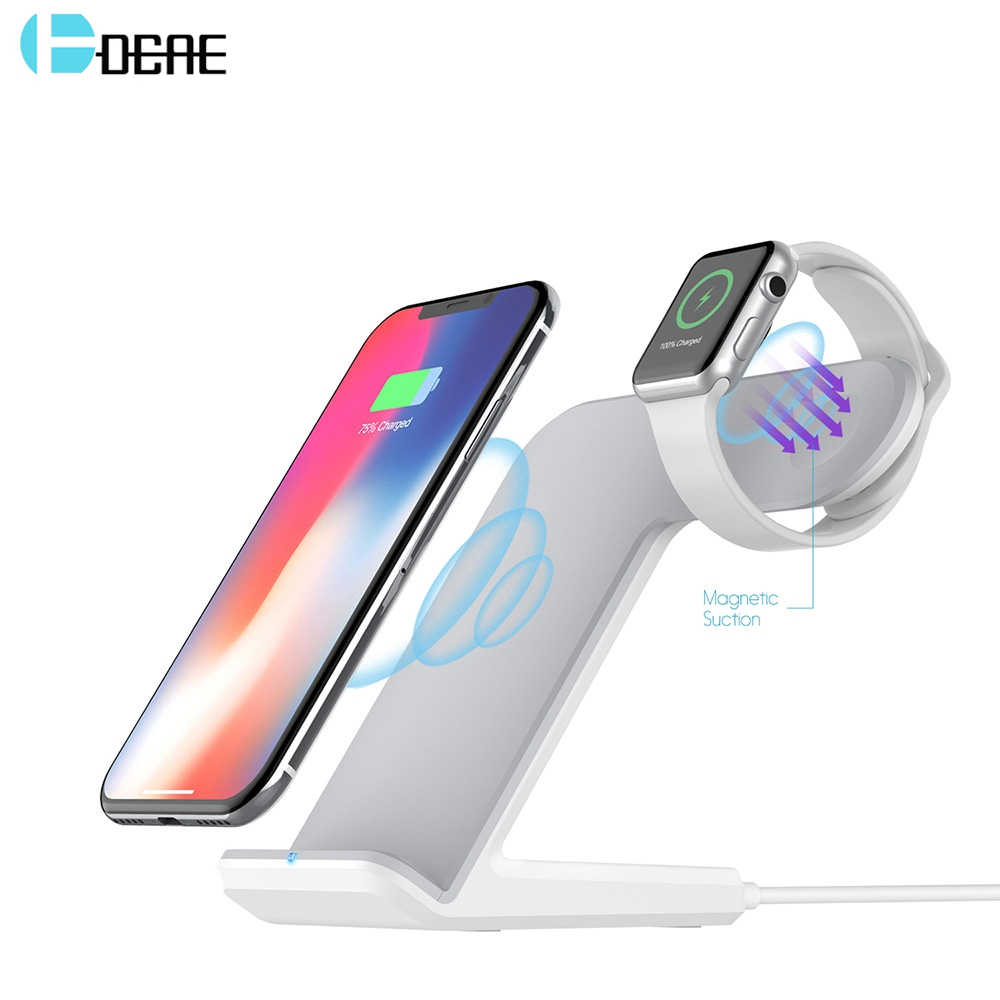 Dcae 2 In 1 Pengisian Dock Station Bracket Cradle Stand Pemegang Qi Wireless Charger untuk iPhone 11 X Max XR X 8 Apple Watch 5 4 3