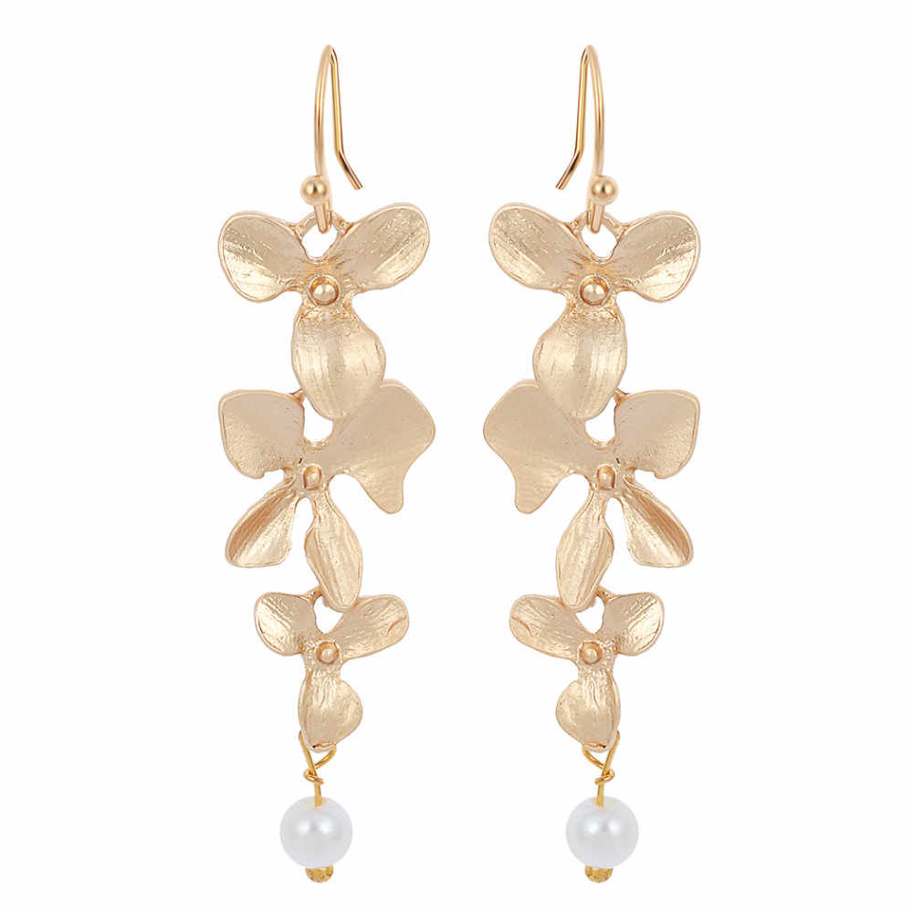 Kinitial Hot Sale Statement Orchid Flower and Pearl Drop earrings in silver Earring for Women Pearl Jewelry Earrings femme 2019