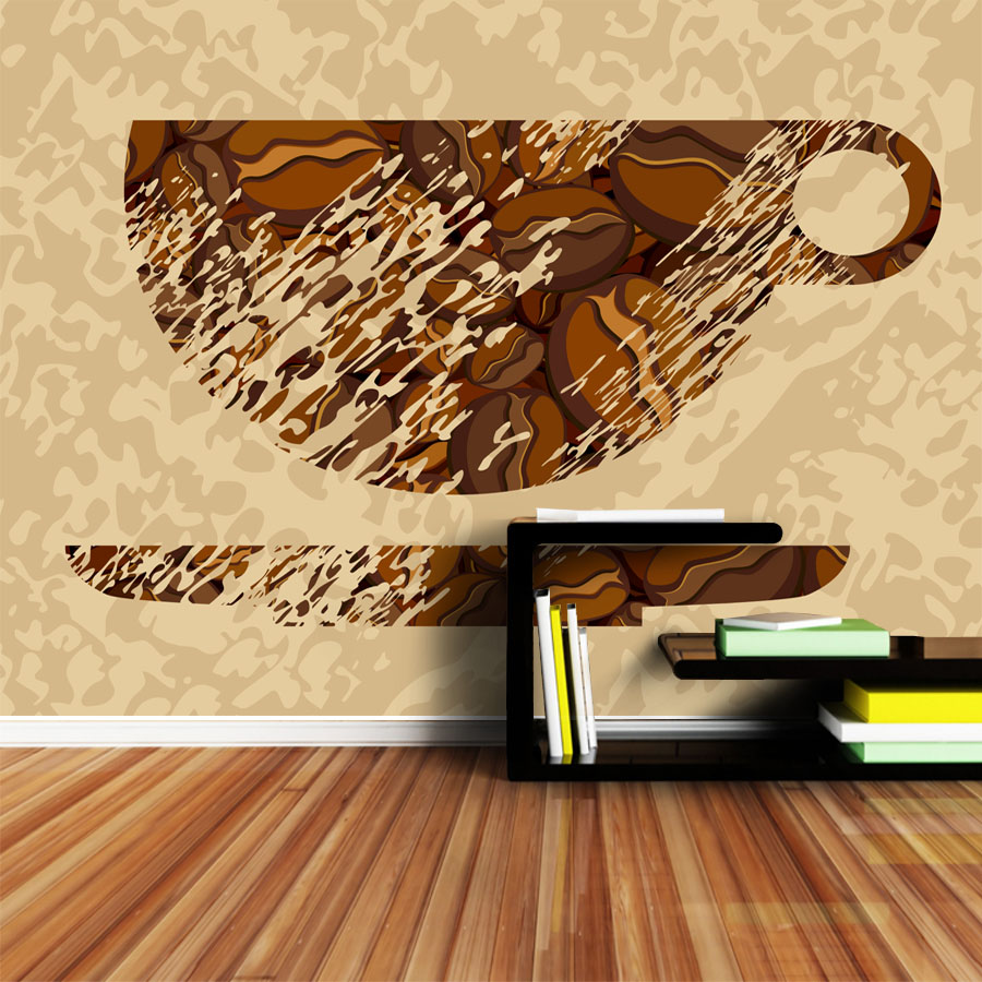 ShineHome Classical Tea Cup Sketch Retro 3d Art Photo Wallpaper for ...