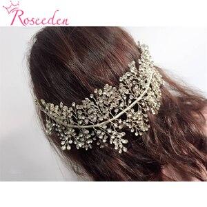 Image 2 - El yapımı kristal Rhinestones Tiaras ve taçlar düğün kafa bandı başlığı gelin saç parçası balo Pageant aksesuarları RE3169