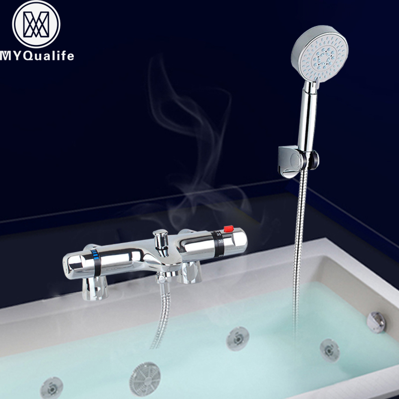 Thermostatic Bathtub Faucet Deck Mounted Thermostat Bath Shower Mixer Tap with Handshower Clawfoot Tub Faucet china sanitary ware chrome wall mount thermostatic water tap water saver thermostatic shower faucet