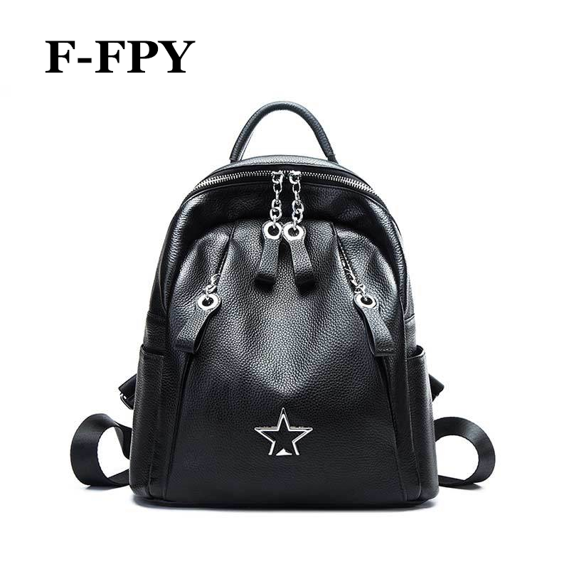 High Quality Genuine Cow Leather Women Black Backpack Fashion Rivets Chain Design Girls Shoulder Bag Casual Travel Bags Rucksack hahmes high quality genuine leather women s backpack simple design casual daypacks travel bags cow leather school bag 10948