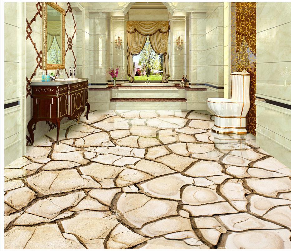 3d Stereoskopische Tapete Boden Riss Trocken 3d Bodenfliesen Zimmer