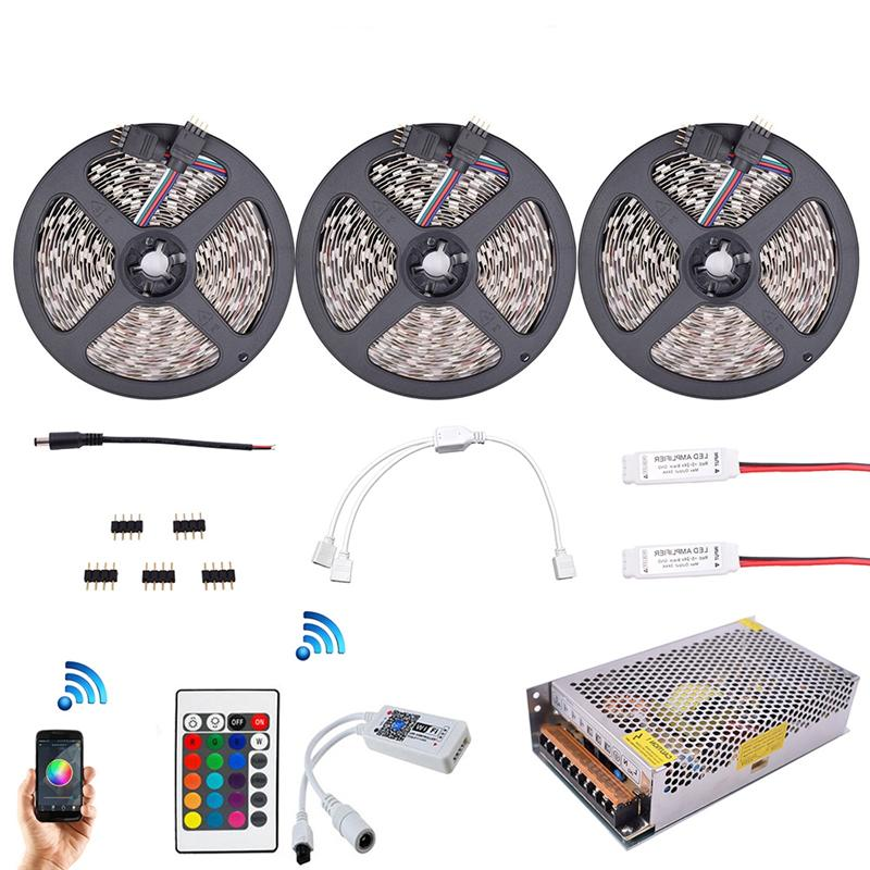 SMD 2835 900 LEDs RGB LED Strip Kit Diode Tape Lights With 2.4G RF Remote RGB Controller Amplifier Wifi APP Control mini wifi rgb strip light controller with music control and voice control compatible with google home