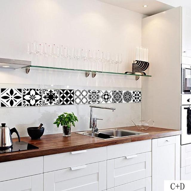 € 1.74 20% de réduction Rétro carrelage carreaux autocollants PVC salle de  bain toilette noir et blanc imperméable Stickers muraux décor à la ...
