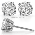LASAMERO Stud Earrings 14K Gold Total 1CW Lab Grown Esdomera Moissanites 4-Prong Solid White Gold Diamond Stud Earrings