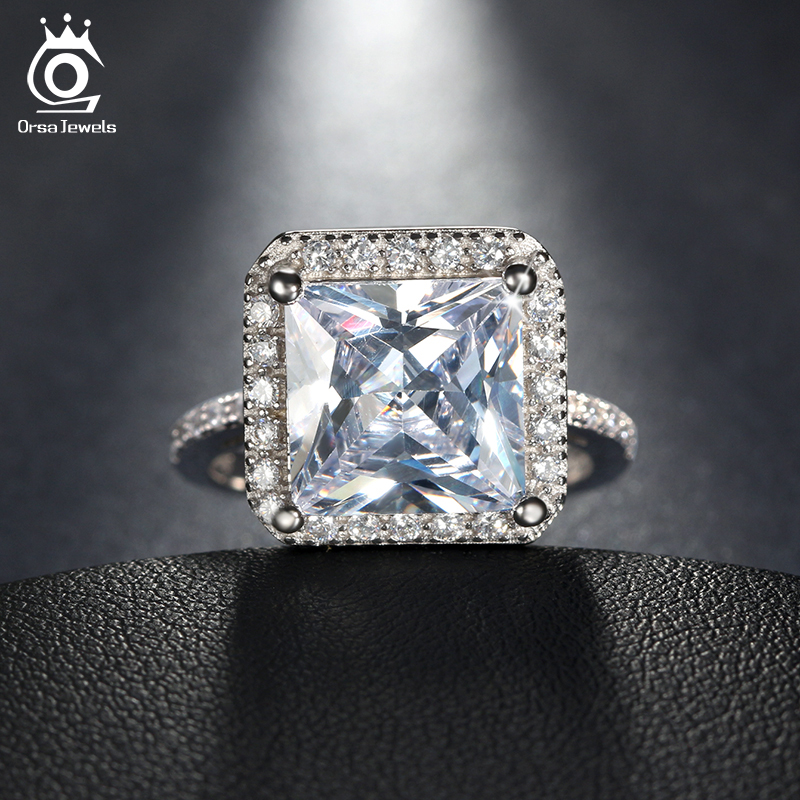 ORSA JEWELS 2018 Luxury 0.85 ct Silver Color Wedding Ring with A Big Square Cut CZ Ring for Women Promise Jewelry Gift OR97 скатерть a promise household cloth 13