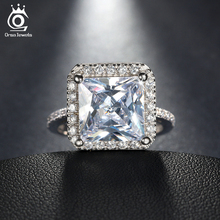 ORSA JEWELS 2018 Luxury 0.85 ct Silver Color Wedding Ring with A Big Square Cut CZ Ring for Women Promise Jewelry Gift OR97