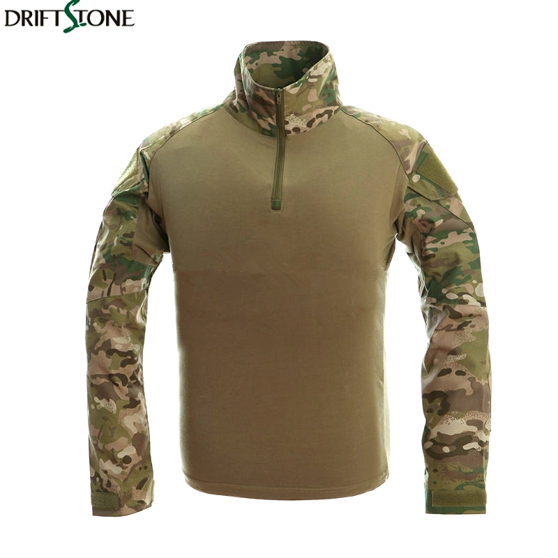 Camouflage T-shirts Military Uniform US Army Combat T Shirt Cargo Airsoft Paintball Militar Tactical Clothing with Elbow Pads