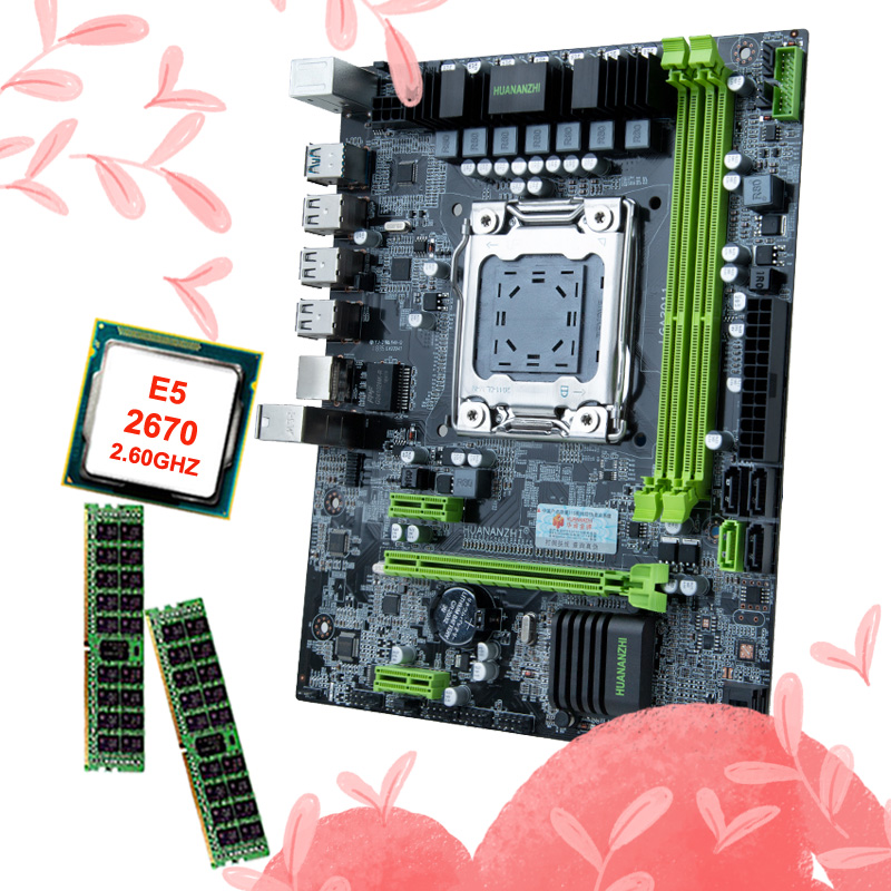 HUANANZHI X79 6M LGA2011 motherboard bundle discount motherboard with CPU Intel Xeon E5 2670 2.6GHz RAM 16G(2*8G) DDR3 REG ECC