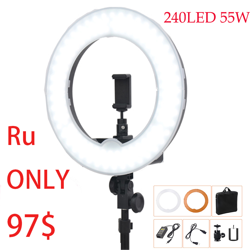 Camera Photo/Video 18Outer 14Inner 55W 5500K Ring Fluorescent Flash Light LED Ring Ligthing Photo Studio Ring LED 40 250mm working distance 144 led microscope camera fluorescent ring light
