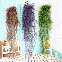 14 Fork Artificial Admiralty Willow Simulation Leaves Plant Hang Basket Rattan Floral Ornament Wedding Party Home Garden Decor
