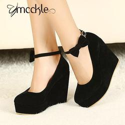 2016 hot sexy women fashion buckle ladies shoes wedges high heels platform black bow pumps tenis.jpg 250x250